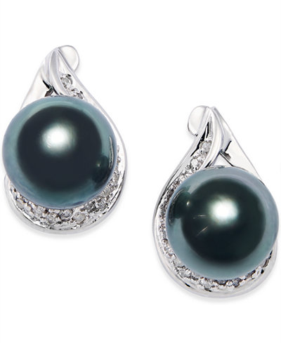 Cultured Tahitian Black Pearl (9mm) and Diamond (1/6 ct. t.w.) Earrings in 14k White Gold