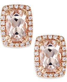 Morganite (1 ct. t.w.) and Diamond (1/10 ct. t.w.) Stud Earrings in 14k Rose Gold