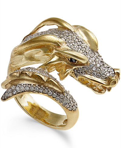 Diamond Dragon Bypass Ring (1 ct. t.w.) in 14k Gold-Plated Sterling Silver
