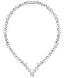 "Swarovski 15-3/4"" Silver-Tone Diapason Crystal V-Necklace"