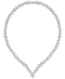 "Swarovski 15-3/4"" Silver-Tone Diapason Crystal V-Necklace"