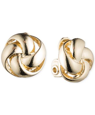Anne Klein Knot E Z Comfort Clip On Earrings Fashion Jewelry