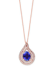 EFFY Tanzanite (2-5/8 ct. t.w.) and Diamond (1/2 ct. t.w) Swirl Pendant Necklace in 14k Rose Gold