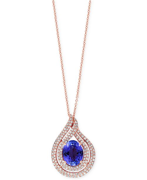 EFFY Collection EFFY Tanzanite (2-5/8 ct. t.w.) and Diamond (1/2 ct. t.w) Swirl Pendant Necklace in 14k Rose Gold