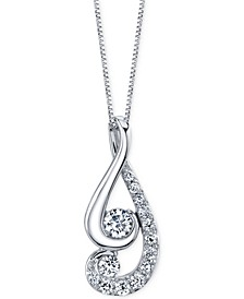 Proud Mom designed by Jaime King Diamond Swirl Pendant Necklace (1/2 ct. t.w.) in 14k White Gold