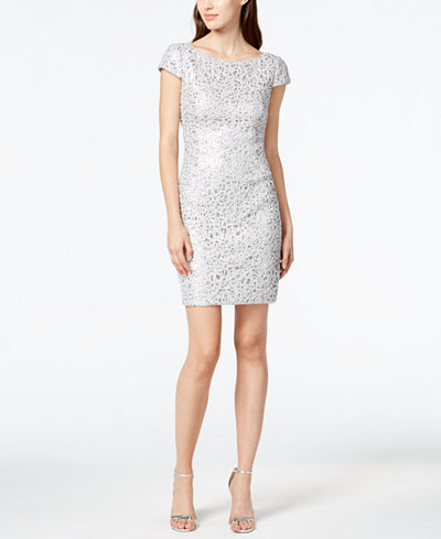 Adrianna Papell Sequined Lace Sheath Dress Dresses