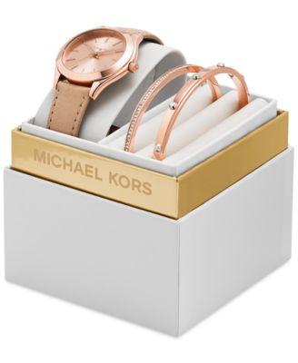 Michael Kors Women's Slim Runway Vachetta Leather Strap Watch Box ...