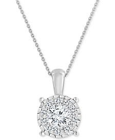 Diamond Cluster Pendant Necklace (3/4 ct. t.w.) in 14k White Gold