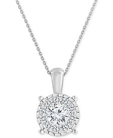 TruMiracle® Diamond Cluster Pendant Necklace (3/4 ct. t.w.) in 14k White Gold