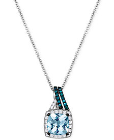 Le Vian Aquamarine (1-1/4 ct. t.w.) and Diamond (1/5 ct. t.w.) Pendant Necklace in 14k White Gold