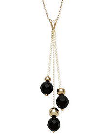 Onyx and Gold Bead Y-Necklace in 14k Gold
