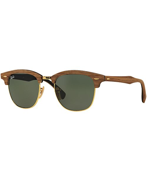 Ray-Ban Sunglasses, RB3016M CLUBMASTER WOOD - Sunglasses by Sunglass ... 36dee88050
