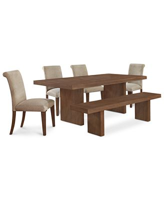 Madina 6 Pc Dining Set Dining Table 4 Chairs And Bench Furniture Macy
