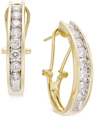 Diamond J Hoop Earrings 1 ct t w in 10k Gold or White Gold