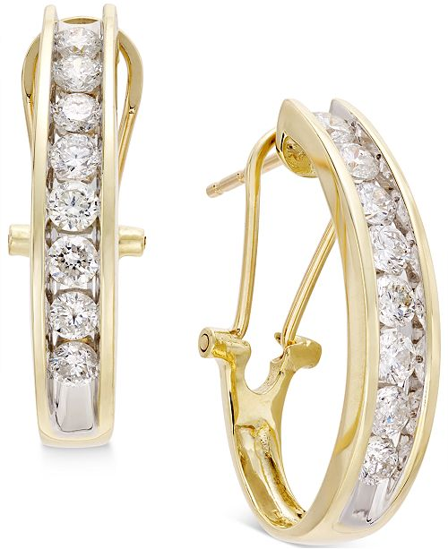 71014d9c7f9cd Diamond J Hoop Earrings (1 ct. t.w.) in 10k Gold, White Gold or Rose Gold