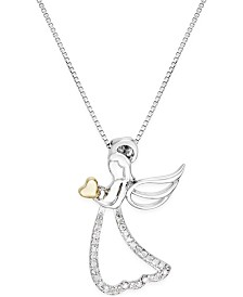 Angel Adjustable Pendant Necklace with Diamond Accents in Sterling Silver with 14k Gold Accent