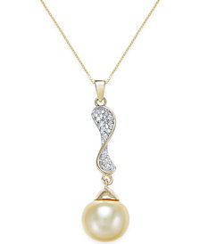 Cultured Golden South Sea Pearl (10mm) and Diamond (1/10 ct. t.w.) Pendant Necklace in 14k Gold