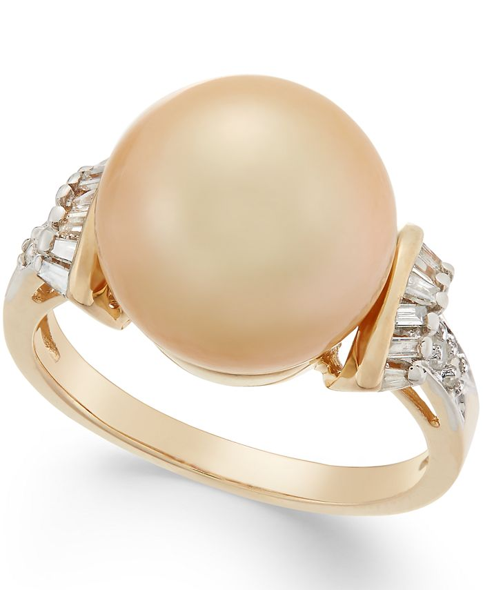 Macy's - Cultured Golden South Sea Pearl (12mm) and Diamond (1/4 ct. t.w.) Ring in 14k Gold