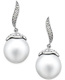 Cultured South Sea Pearl (11mm) and Diamond (3/8 ct. t.w.) Swirl Drop Earrings in 14k White Gold