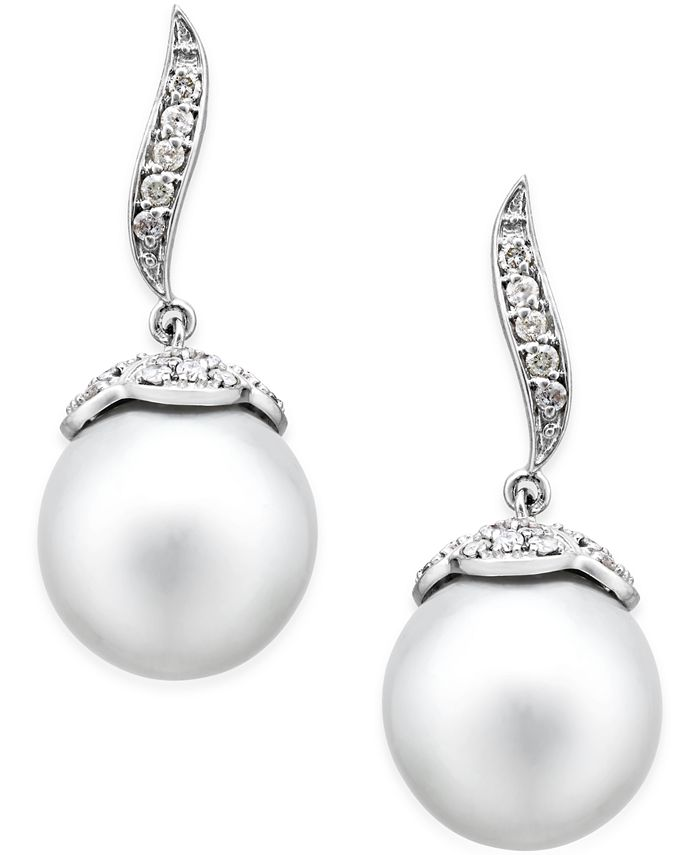 Macy's - Cultured South Sea Pearl (11mm) and Diamond (3/8 ct. t.w.) Swirl Drop Earrings in 14k White Gold