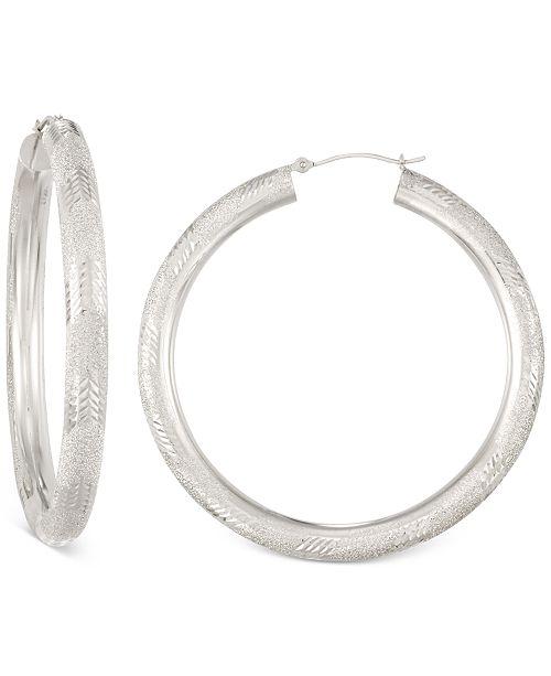 Diamond Cut Hoop Earrings In 14k White Gold