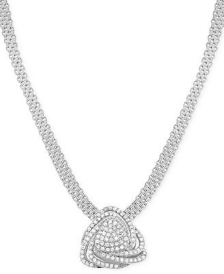 Wrapped in Love™ Diamond Triangle Floral Pendant Necklace (1 ct. t.w.) in Sterling Silver, Created for Macy's