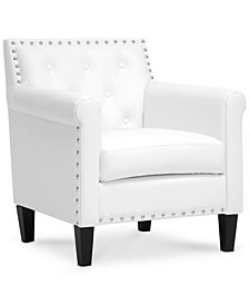 Antonia Faux Leather Accent Chair, Quick Ship