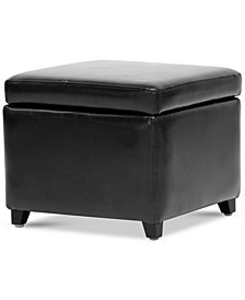Brant Small Faux Leather Storage Cube Ottoman, Quick Ship