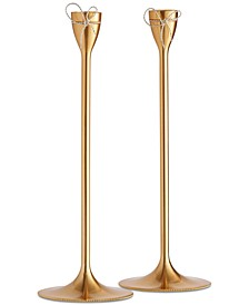 Love Knots Gold Taper Candle Holder Pair