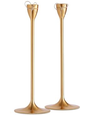 Vera Wang Wedgwood Love Knots Gold Taper Candle Holder Pair
