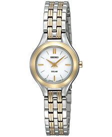 Seiko Women's Solar Two-Tone Stainless Steel Bracelet Watch 22mm SUP210