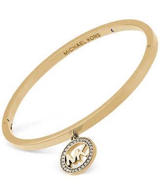 Michael Kors Gold-Tone Crystal Logo Charm Bracelet ...