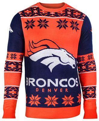 Forever Collectibles Mens Denver Broncos Big Logo Christmas Sweater