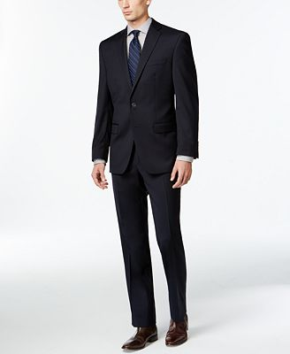 Calvin Klein Solid Navy Slim-Fit Suit - Sale & Clearance - Men ...