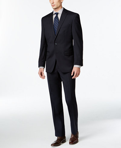 Calvin Klein Solid Navy Slim-Fit Suit - Sale & Clearance - Men ...