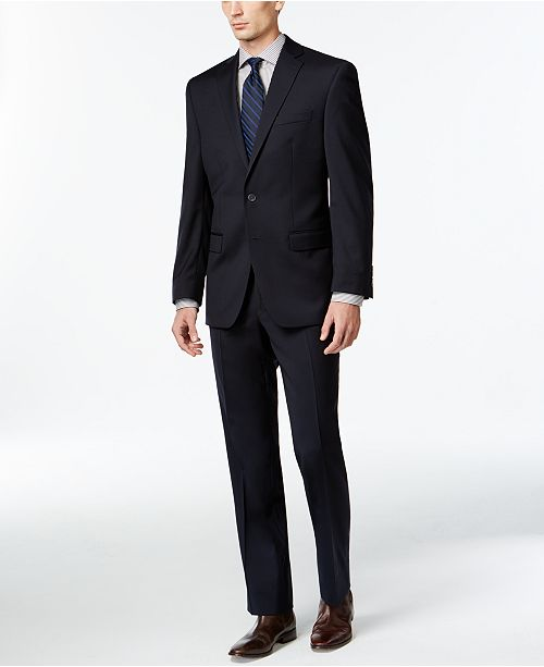 Calvin Klein Solid Navy Slim-Fit Suit