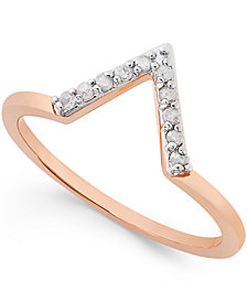 Diamond V Ring (1/10 ct. t.w.) in Sterling Silver or 18k Gold-Plated Sterling Silver