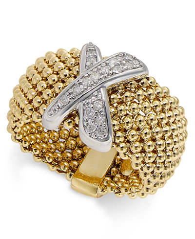 Diamond Mesh X Ring (1/6 ct. t.w.) in 14k Gold-Plated Sterling Silver