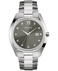 Bulova Men's Diamond Accent Stainless Steel Bracelet Watch 43mm 96D122