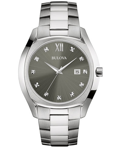 bulova men s diamond accent stainless steel bracelet watch 43mm bulova men s diamond accent stainless steel bracelet watch 43mm 96d122
