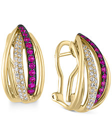 EFFY Diamond (1/4 ct. t.w.) and Ruby (3/8 ct. t.w.) Rounded Stud Earrings in 14k Gold, Created for Macy's