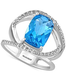 EFFY Blue Topaz (5-2/3 ct. t.w.) and Diamond (1/5 ct. t.w.) Ring in 14k White Gold