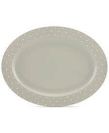 kate spade new york Larabee Dot Grey Collection Stoneware Serving Platter