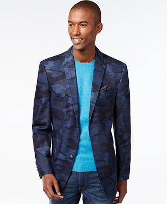 tallia big tall denim camo blazer blazers sport coats men macy 39 s. Black Bedroom Furniture Sets. Home Design Ideas
