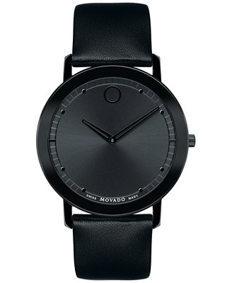 movado s swiss sapphire black leather 40mm