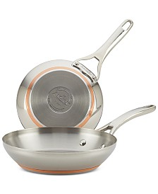"Nouvelle Copper Stainless Steel 8"" & 9.5"" French Skillets"