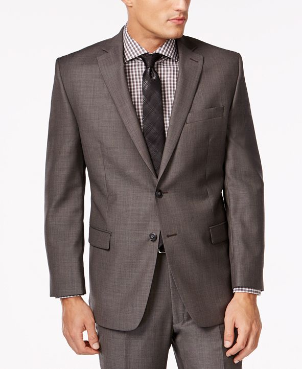 Calvin Klein Jacket Charcoal Pindot 100% Wool Modern Fit