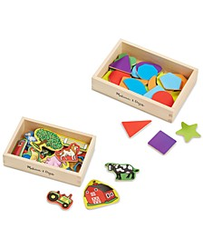 Kids' Shapes and Farm Wooden Magnets Gift Set
