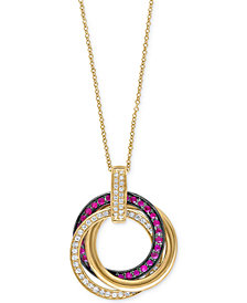 Ruby Royale by EFFY Ruby (1/3 ct. t.w.) and Diamond (1/4 ct. t.w.) Pendant Necklace in 14k Gold, Created for Macy's