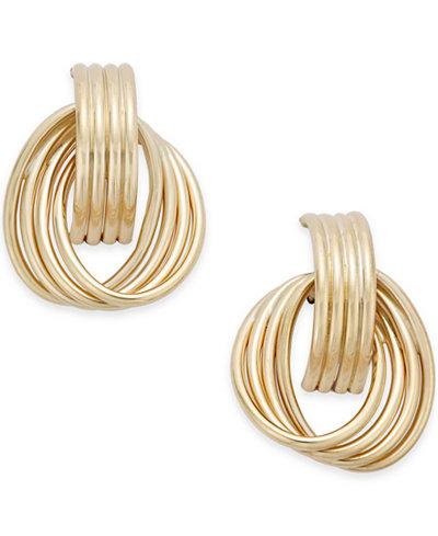 Twirled Door Knocker Earrings in 14k Gold